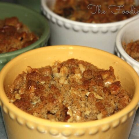 Sweet Potato Casseroles in ramekin dishes