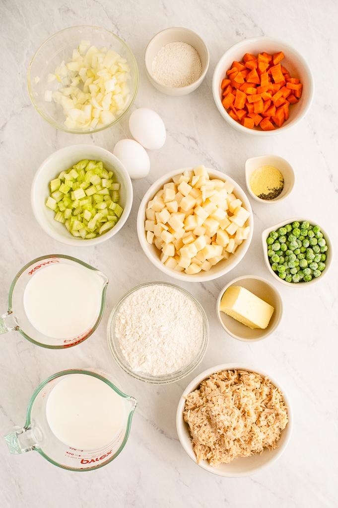 Ingredients to make chicken pot pie.