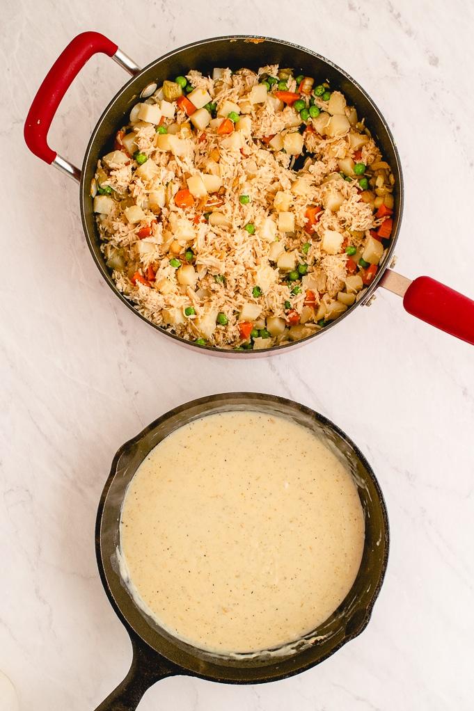 Cream sauce and mixed ingredients to make chicken pot pie