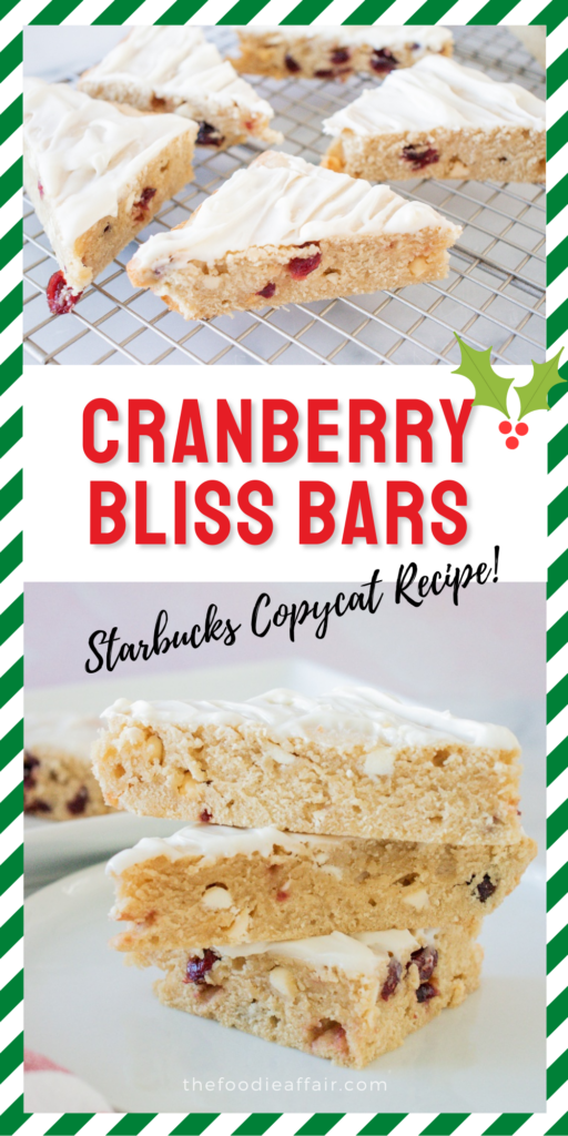 Copycat Starbucks Cranberry Bliss Bar! Enjoy this seasonal treat all year long and save a few bucks. You'll love the nice warm flavor of ginger paired with tart cranberries with white chocolate. All topped with a sweet cream cheese frosting!