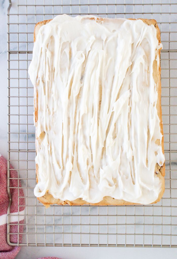 Cream cheese frosting on bliss bars.
