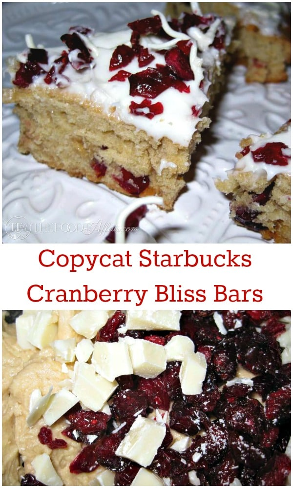 Copycat Starbucks Bliss Bars are triangular pieces of cookie with cake crust are topped with a decadent cream cheese frosting mixed with white chocolate and dried cranberries. The Foodie Affair