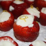 Simple Strawberries filled with fruit dip