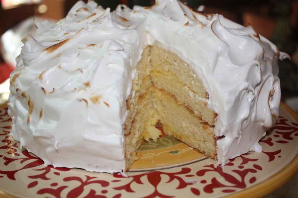 Four layers with lemon curd filling