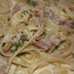 Linguini Carbonara with diced prosciutto