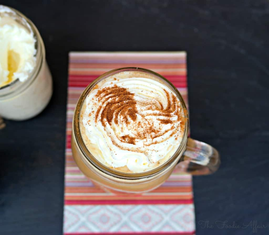 Seasonal Pumpkin Spice Latte made with the milk of your choice, real pumpkin puree, and pumpkin pie spices! Mix with strong coffee and enjoy!