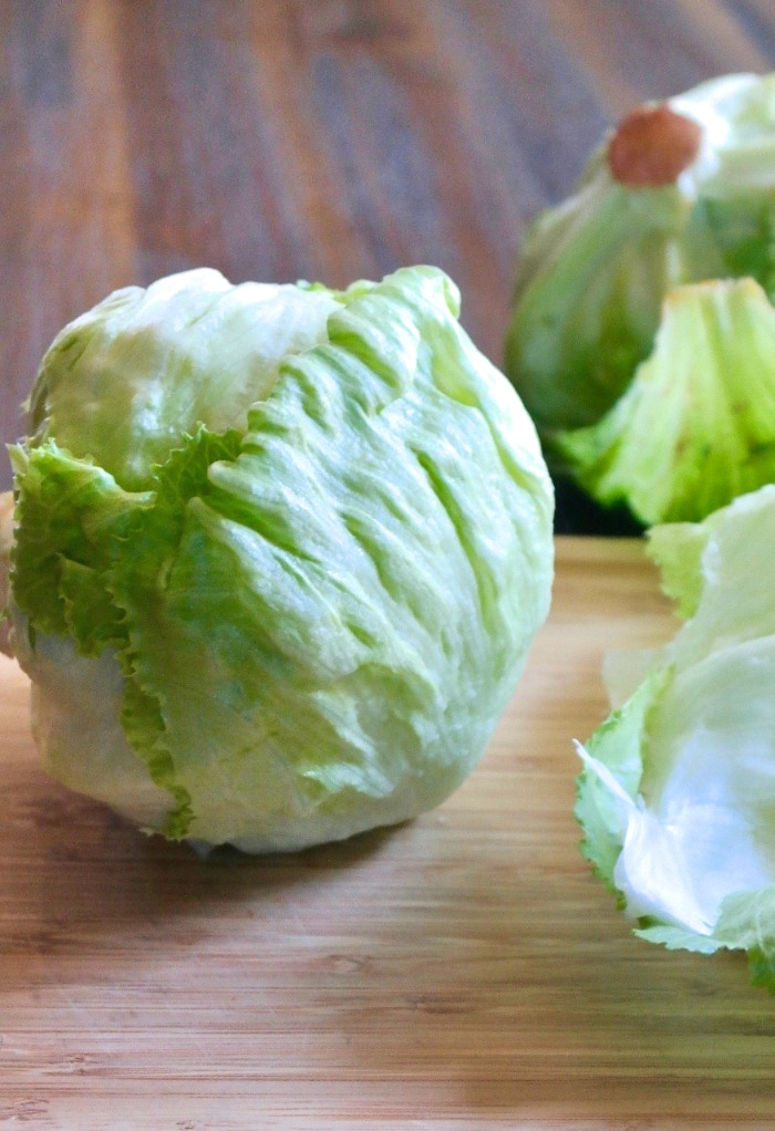Preparing iceberg lettuce for salad