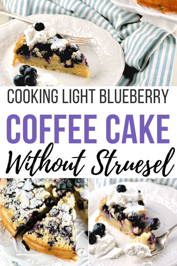 Homemade blueberry coffee cake with buttermilk and fresh blueberries. This cake is perfect for breakfast, brunch or afternoon teas. #coffeecake #cookinglight #lowsugar