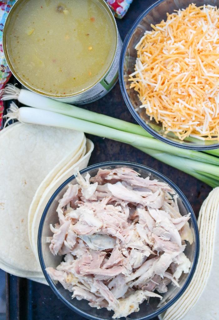 Ingredients for enchilada casserole dish.