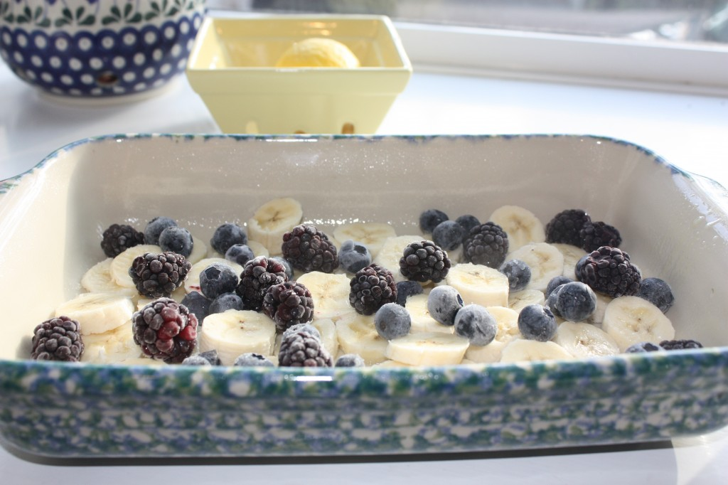 Fruit in casserole dish for baked oatmeal gluten free