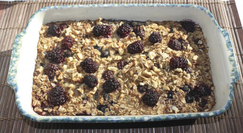 baked oatmeal gluten free in a casserole dish