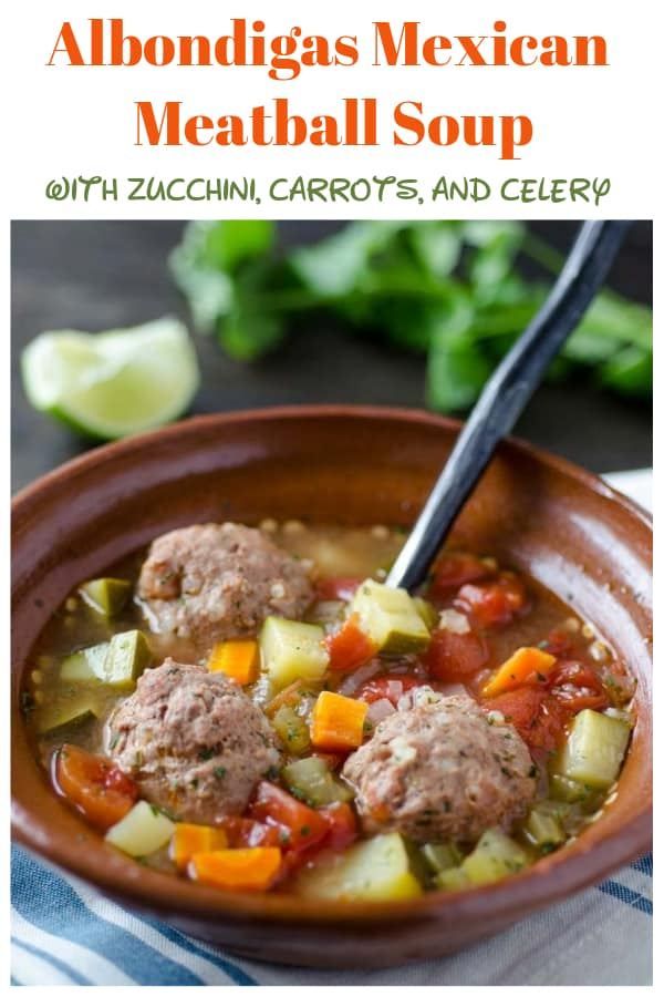 Albondigas is a light and tasty Mexican meatball soup with vegetables. This easy recipe is a family favorite dish! #albondigas #meatballsoup #mexicansouprecipe | www.thefoodieaffair.com