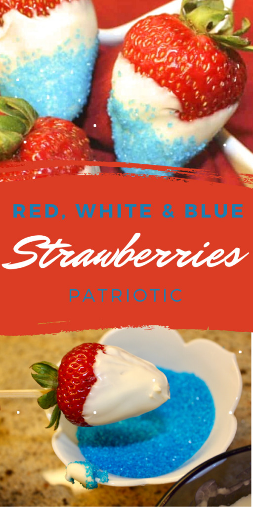 Red White and Blue patriotic chocolate covered strawberries make a fun addition to your holiday celebration. #patriotic #chocolate