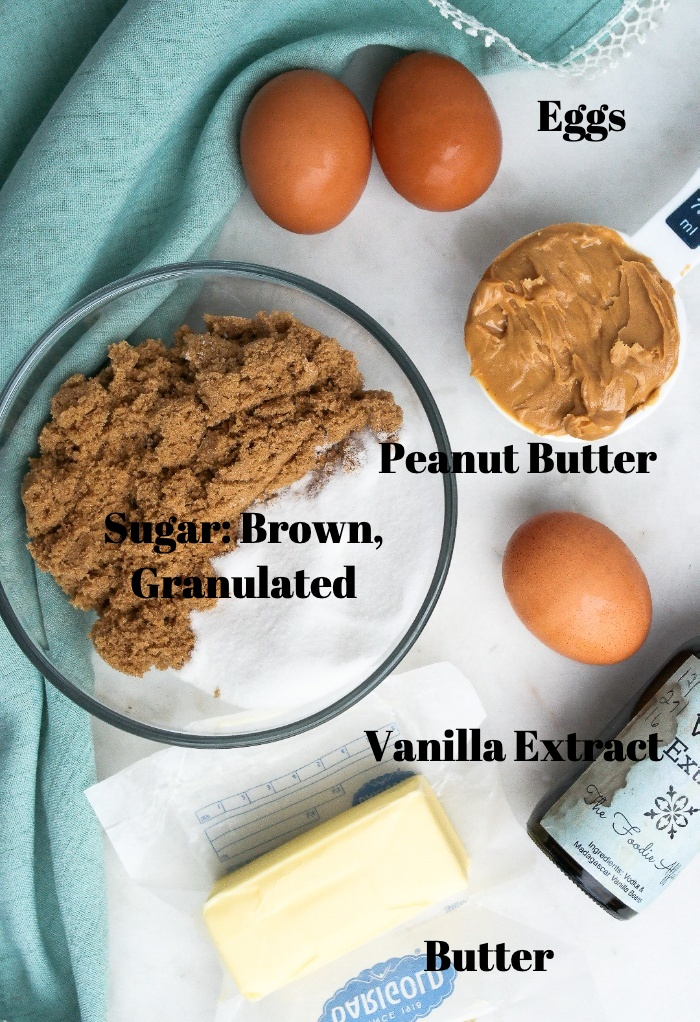 Wet ingredients for peanut butter cookie bars.