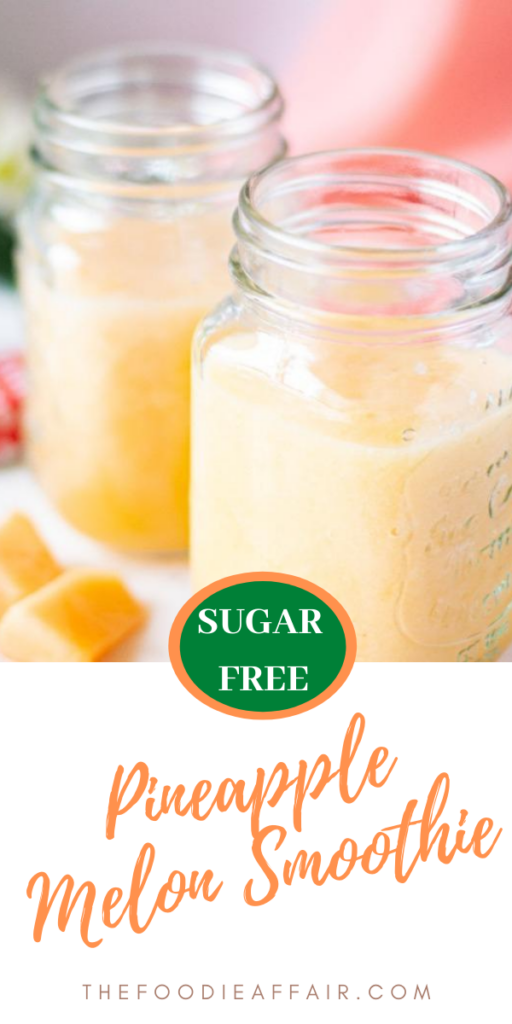 Fresh fruit smoothie made with pineapple, cantaloupe and protein power. Use frozen fruit to thicken or add ice for a frosty texture. #smoothie #fruit #pineapple