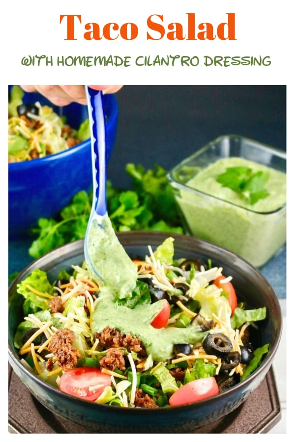 Taco salad with a homemade cilantro dressing. Enjoy this easy low carb dish as a complete meal or add tortilla chips for some extra crunch flavor! #taco #salad #easyrecipe #healthy #lowcarb