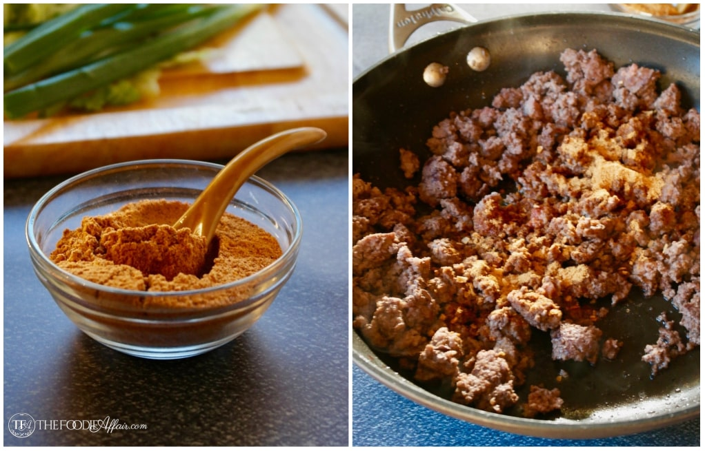 cooked ground beef and seasoning for taco salad