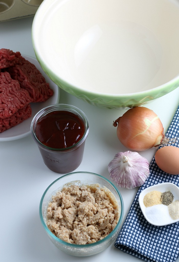 The ingredients for easy meatloaf recipe laid out before we begin cooking.