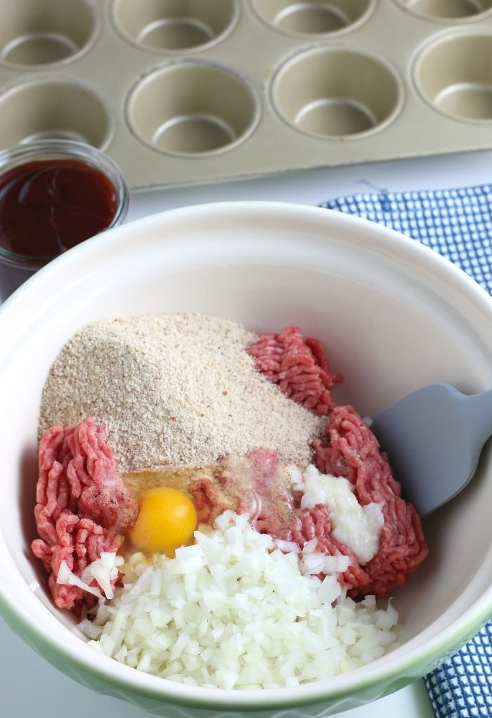 The first step for how to make meatloaf is easy, you gather all the meatloaf ingredients and place the in a large mixing bowl.