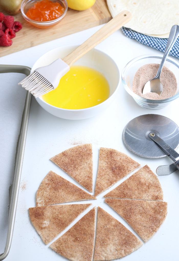 Cut each tortilla into eighth.