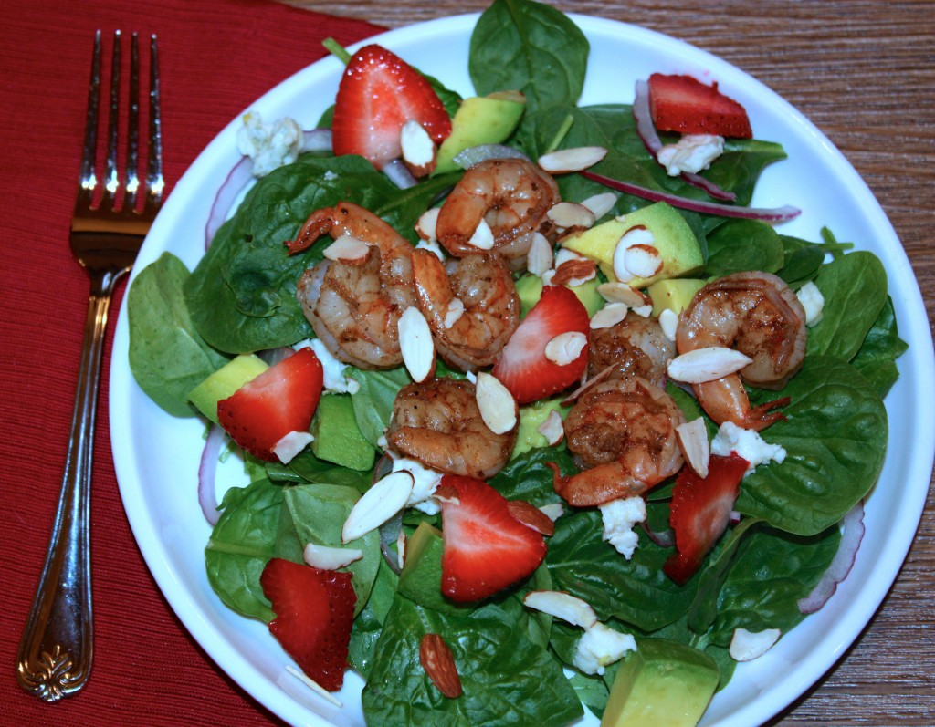 Spinach Strawberry Salad with Shrimp - The Foodie Affair