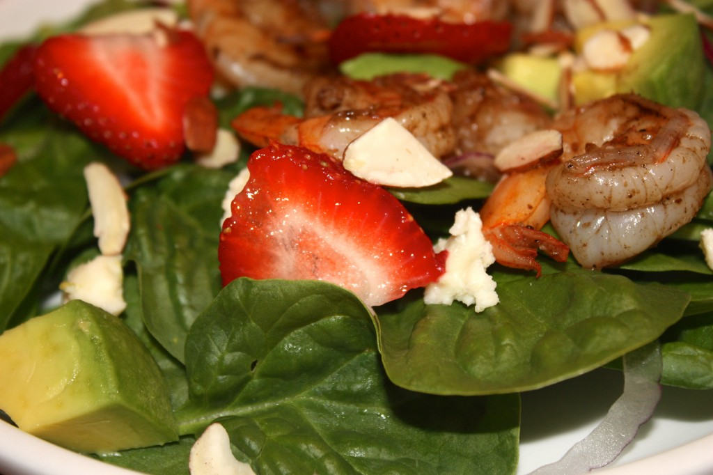 Spinach Strawberry Salad with Shrimp