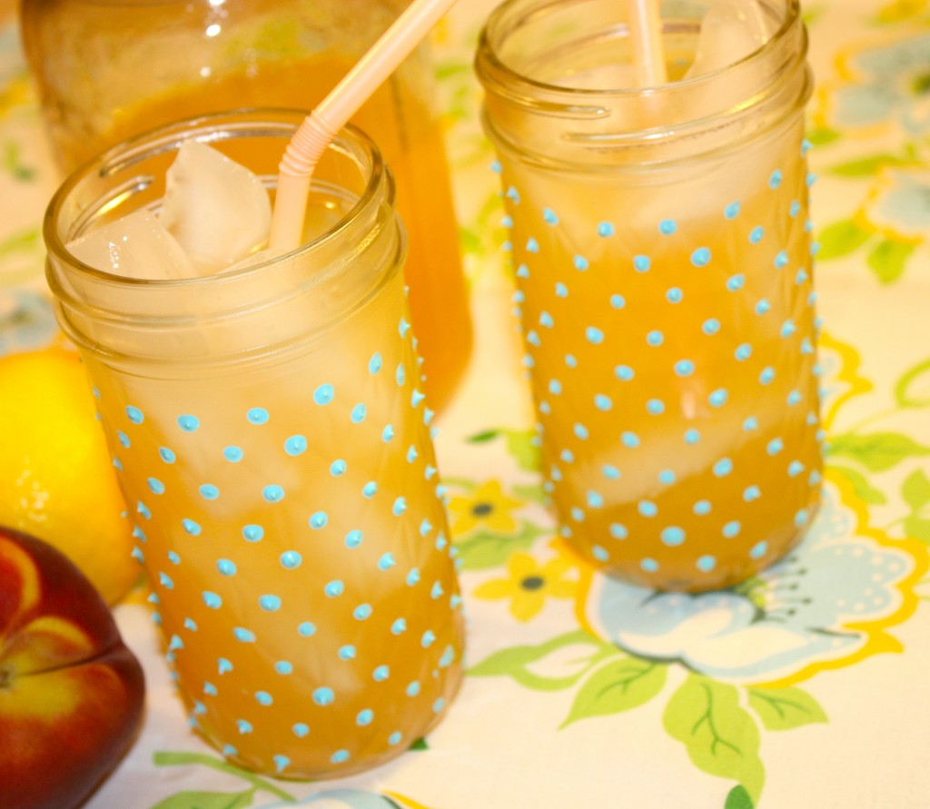 Homemade lemonade with DIY painted Jelly Jars