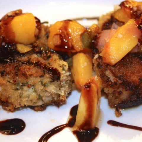 Pork Medallions with Peach Chutney topped with Balsamic Sauce
