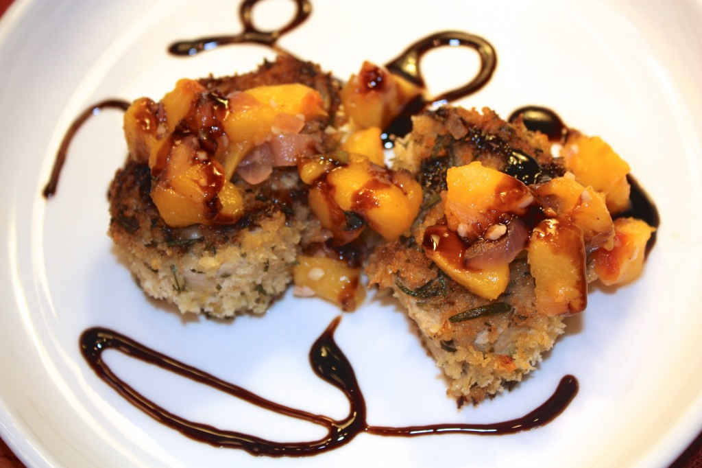Pork Medallion and Peach Chutney topped with Balsamic Glaze