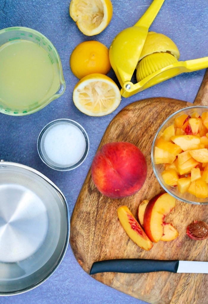 Ingredients for homemade peach lemonade
