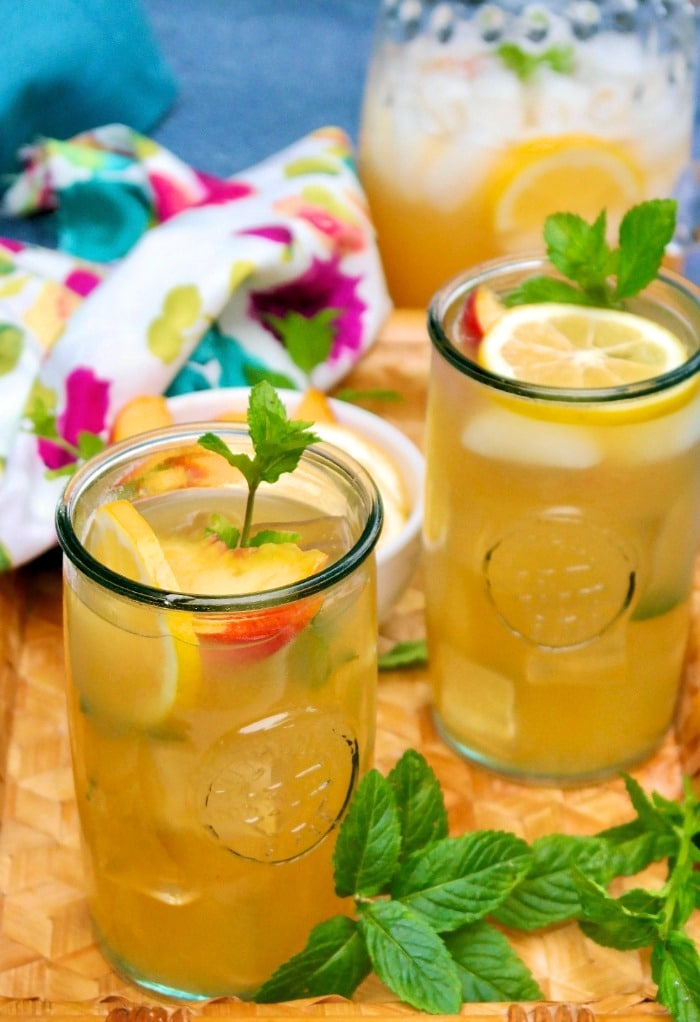 Glasses of fresh homemade peach lemonade.