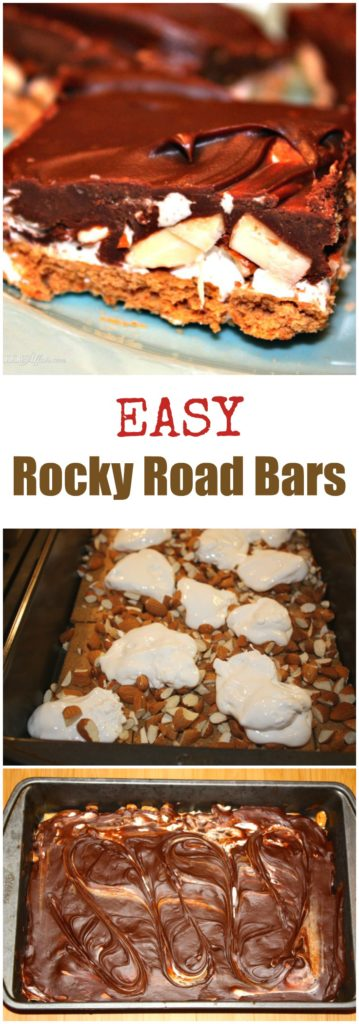 Rocky Road Bars made with a graham cracker crust, and then layered with fudgy chocolate, marshmallow creme and almonds! These treats seem to vanish before your eyes!