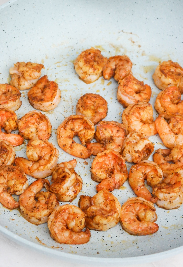 Pan cooked shrimp.