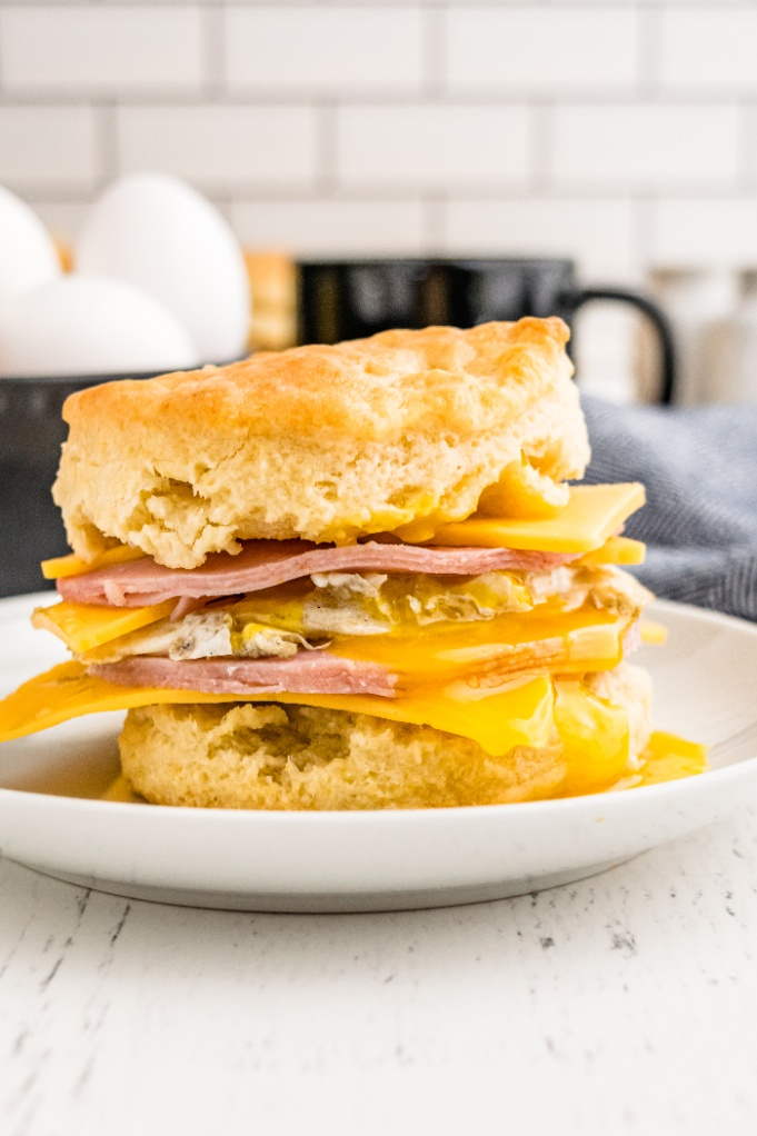 Biscuit sandwich on a white plate ready to enjoy.