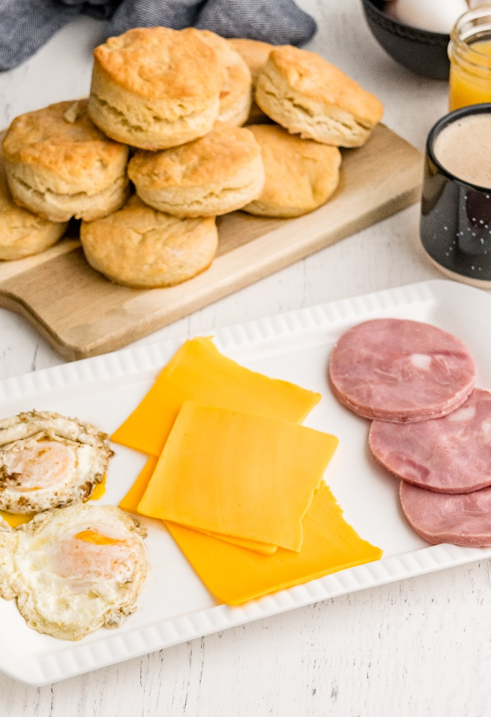 Ingredients to make breakfast biscuits with egg and cheese..
