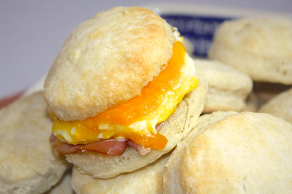 breakfast sandwiches made with buttermilk biscuits and filled with egg ...
