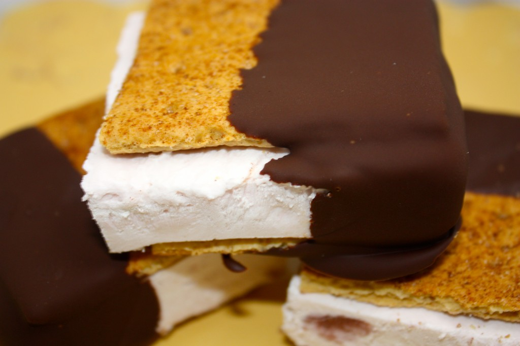 Cherry Greek Yogurt Ice Cream Sandwiches dipped in Chocolate