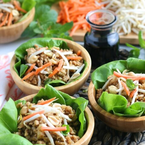 A view of the finished batch of ground turkey lettuce wraps.