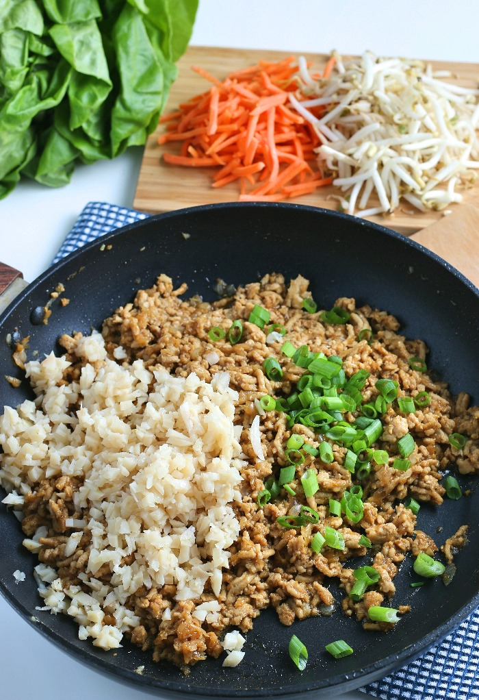 More seasoning is being added to our asian lettuce wraps recipe in this step.