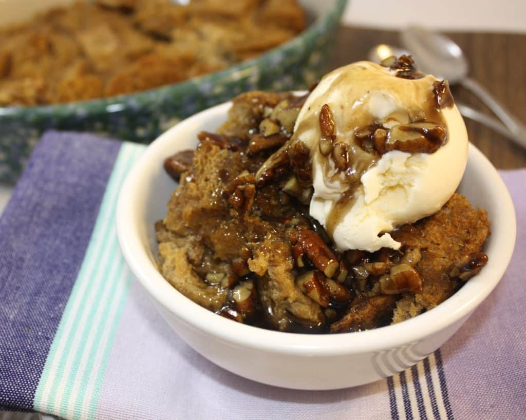 Bourbon Molasses Bread Pudding with Boozy Pecan Sauce - The Foodie ...