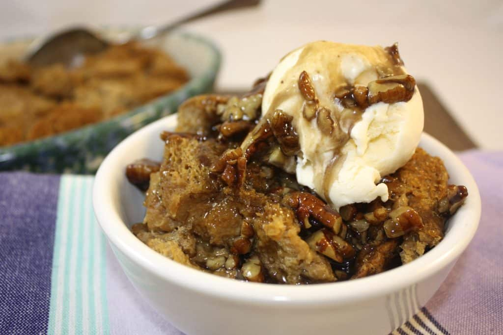 Bourbon Molasses Bread Pudding with Boozy Pecan Sauce