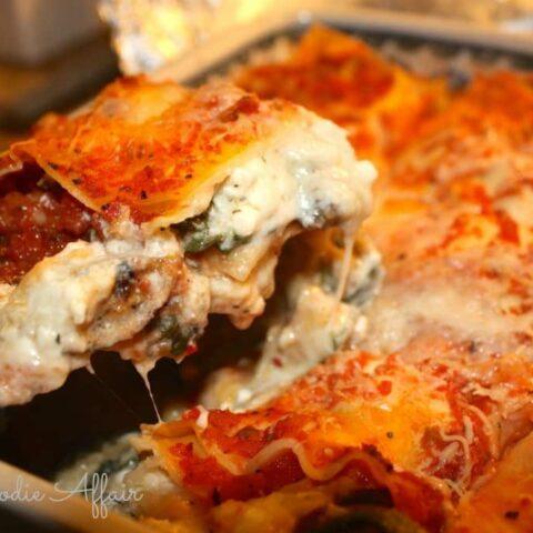 Vegetable Lasagna in a casserole dish