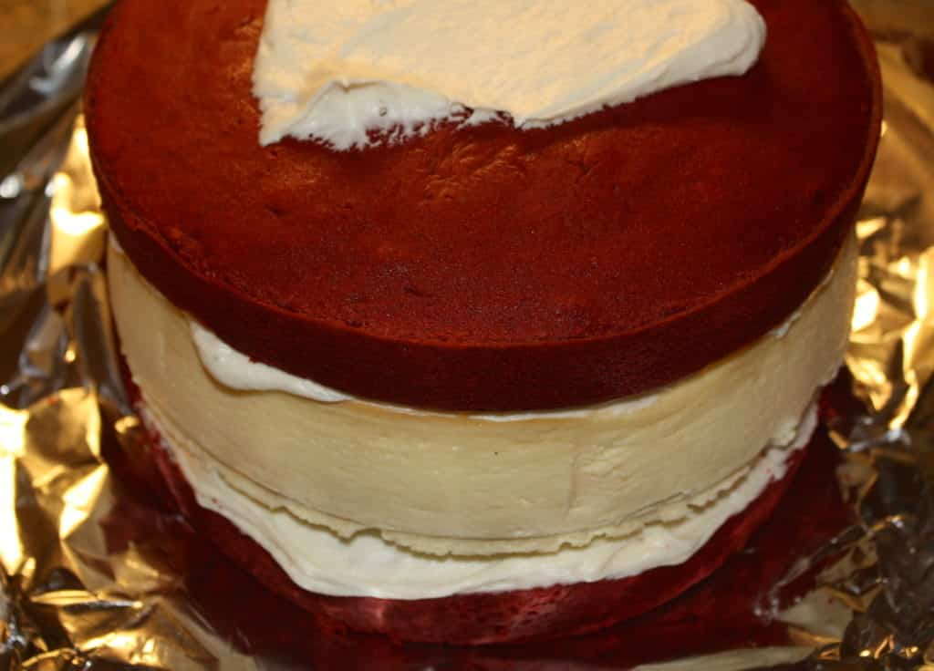 Layered Red Velvet and Cheesecake - The Foodie Affair