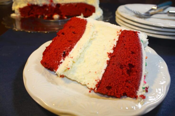 This is a photo from a red velvet cheesecake recipe. Two treats in one.