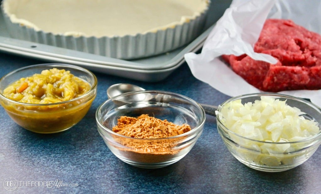 taco pie ingredients in small clear bowls