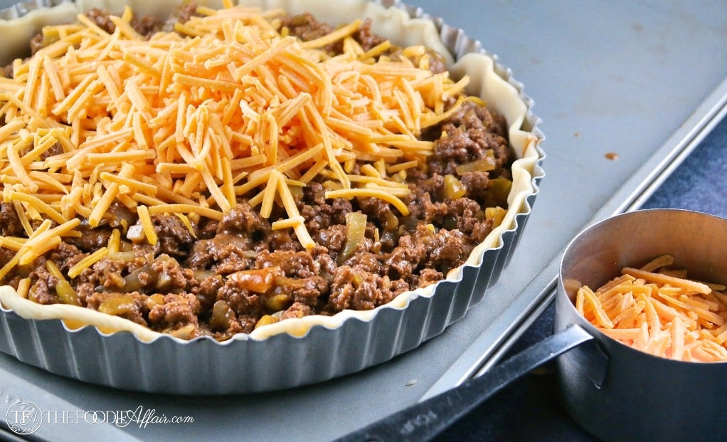 taco pie topped with cheese