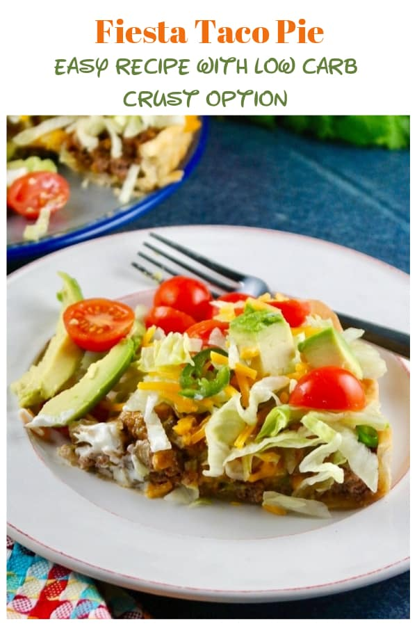 Easy fiesta taco pie is made with flavorful seasoned beef, gooey cheese, and then loaded with your favorite toppings! Check out the variety of crust options for low carb followers #taco #pie #Mexican #easyrecipe | www.thefoodieaffair.com
