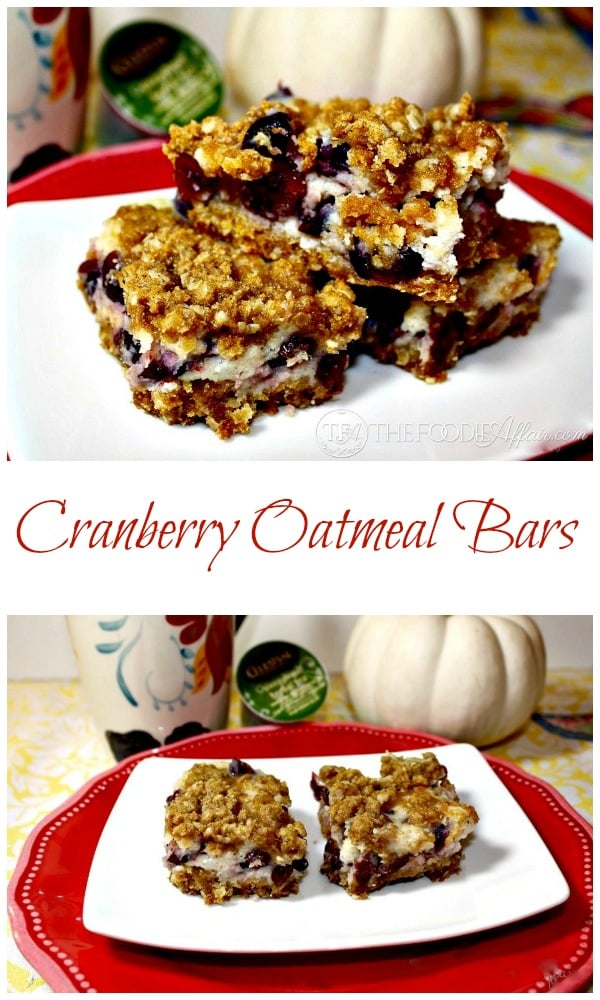 These Cranberry Oatmeal Bars are a little tart and slightly sweet, easy to make, and ideal for breakfast on the go, a quick snack or dessert! The Foodie Affair