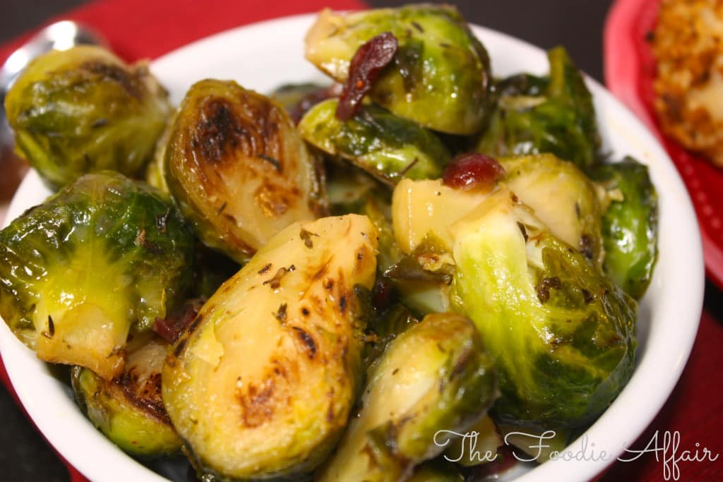 Maple Glazed Brussels Sprouts in a white bowl
