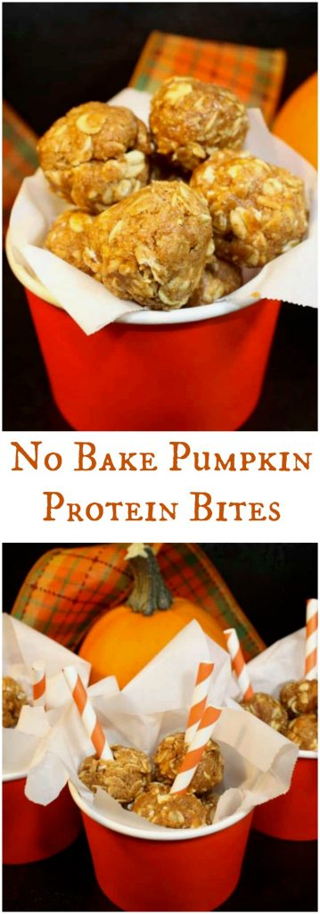Fall favorite flavors are packed in these no-bake pumpkin protein bites! Enjoy these easy healthy snacks for after school, pre or post workout! #NoBake #Snack #PumpkinSpice | www.thefoodieaffair.com